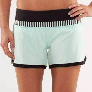 Lululemon Mint Green Black Groovy Run Shorts